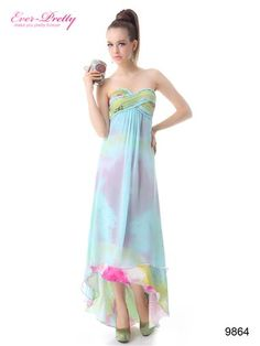 Sexy Padded Falbala Floral Print High Low Evening Gown