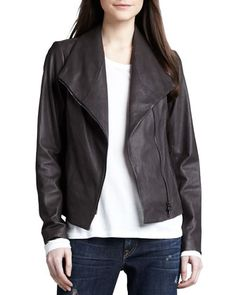 Leather Scuba Jacket, Ash by Vince at Neiman Marcus.