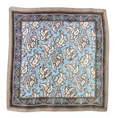Carré de soie foulard gris indie 50x50 premium - Foulard soie carré - Mes Echarpes