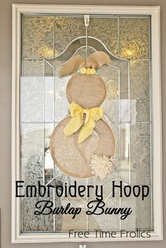 Embroidery Hoop Burlap Bunny Door and wall Decor. Easy step by step tutorial. Perfect for Easter Time decor. Make one for your wall in under an hour. Bunny Crafts, Easter Crafts, Easter Decor, Hoppy Easter, Easter Bunny, Easter Eggs, Burlap Crafts, Diy And Crafts, Spring Crafts
