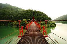 Beautiful Landscape photography : Red Bridge Wakayama Prefecture Japan