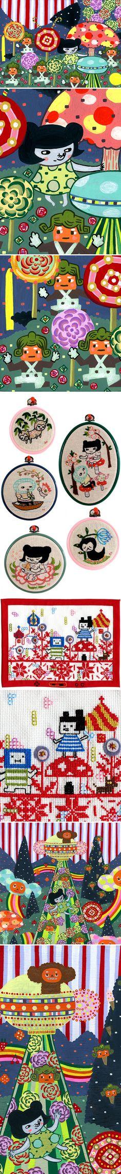 Aya Kakeda - paintings, and embroidery <3 x2