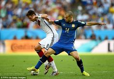 Midfield engine: Argentina's Mascherano attempts to win the ball back from Ozil Brazil World Cup, World Cup 2014, Fifa World Cup, Jamie Redknapp, Soccer Fifa, World Cup Final, Lionel Messi, Master Class, Finals