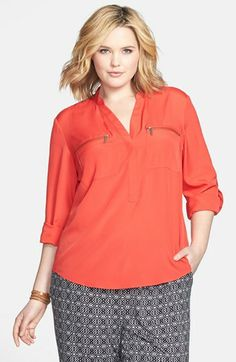 MICHAEL Michael Kors Zip Pocket Blouse (Plus Size) available at #Nordstrom