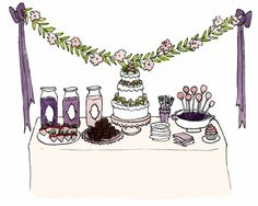 how to style a dessert table! all purple desserts here!
