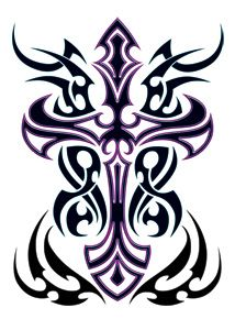 Purple Tribal Cross Tattoo #temporarytattoo #temporarytattoos #t4aw #TribalTattoo