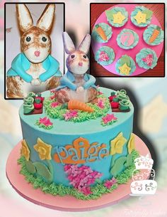 Spring 7th Birthday with gumpaste bunny rabbit and cupcakes   Check out my friends cake!!!