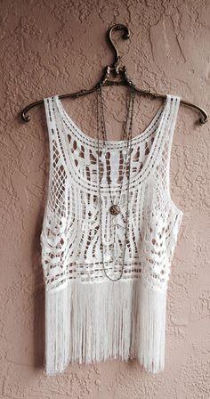Reservado para Claudia Beach bohemio camisola franja con detalles de crochet gitana boda hippie