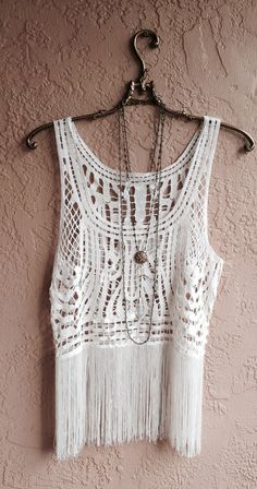 bohemian fringe camisole with crochet detail gypsy by BohoAngels, $45.00