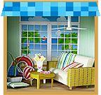 Paper dollhouse complete rooms  サマーハウスの入り口画像