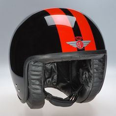 Davida Jet Helmet - Black 2P Orange Stripe