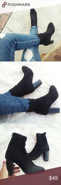 //The Audrina// suede Black ankle booties Brand new Never been worn Comes in original box No trades!! Price is Firm!! Many more sizes Available. Runs a 1/2 a size big. Strut! Shoes Ankle Boots & Booties