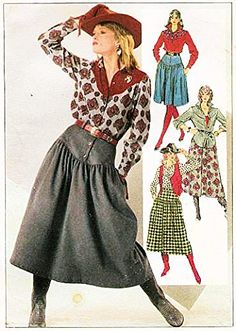 Amazon.com: Simplicity 7601 Misses' Skirt in Two Lengths, Shirt and Lined Vest Sewing Pattern, Misses Size 14 Bust 34 Waist 28, Vintage Cowgirl Costume: Arts, Crafts & Sewing