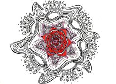Blooming Mandala  I like the unconventional shape and the pop of red