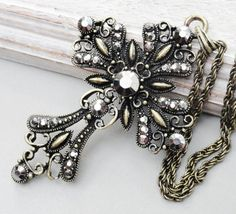 Fancy Filigree Cross Pendant Necklace  by Kikiburravictoriana, $18.50
