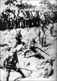 """Title of image: """"Rape of Nanking New soldier training"""".........My explanation: The soldier in the foreground is not casting a shadow. There is a lot of foliage on the trees, I don't think this is wintertime in Nanking.....looks too hot to me!......no one is wearing winter clothing........another fake composite photo?"""