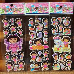 New 2016 Bubble Stickers Cartoon Dora Girl Pattern Sticker 3D Scrapbook Kids School Rewards Baby Children Gift 10pca/Lot