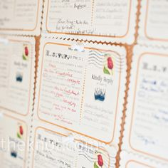 Liz put her graphic design skills to work using a bird and honeycomb theme and vintage stamps. The couple made the RSVPs into Mad Lib postcards and displayed their favorite responses at the wedding.
