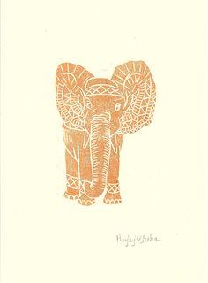 A4 Original Lino Print - Elephant - Burnt Orange - Signed by the Artist