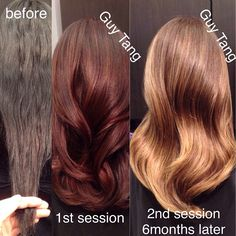 Color correction process from black uneven dyes transitioned to red to finally blonde that she wanted.