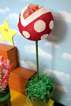 @Heather Judd Saw you pinning for your Mario party and it reminded me of this pin I'd seen recently. How CUTE are these for table decorations? And so easy too.