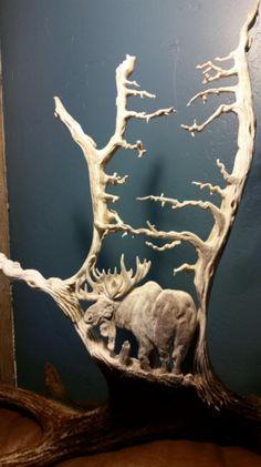 Unique antler carvings and scrimshaw of wildlife scenes in moose antler.