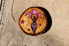 Hand Painted Purple Goddess with Triple Moon  by FairyFresh