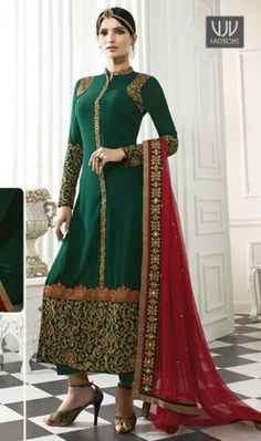 Classical Georgette Designer Straight Salwar Kameez An superb green georgette designer straight salwar kameez will make you appear too stylish and graceful. The desirable embroidered and patch border work a intensive element of this attire.