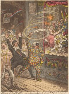 James Gillray, 1757-1815, Blowing up the Pic Nic's: or Harlequin Quioxtte Attacking the Puppets, 1802, Etching with aquatint, hand-colored on moderately thick, slightly textured, beige wove paper, Yale Center for British Art, Paul Mellon Collection