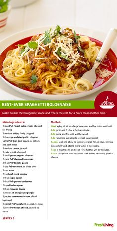With a bottle of All Joy Bolognaise Spaghetti Sauce on hand, we can guarantee this pasta dish will be your Best ever! Meat Recipes, Group Recipes, Cooking Recipes, Healthy Recipes, Cut Recipe, South African Recipes, Spaghetti Bolognese, Spaghetti Sauce, Frozen Meals