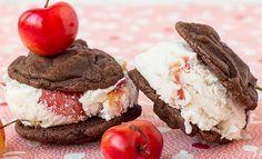 Cherry Coconut Ice Cream Sandwich with Fudge Brownie Cookies