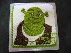 Image detail for -shrek birthday cake i did a gel transfer of shrek and filled it in . 14th Birthday Cakes, 4th Birthday Parties, Diy Birthday, Birthday Ideas, Third Birthday, Shrek Cake, Cupcakes, Cupcake Cakes, Mom Cake
