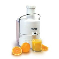Jack LaLanne JLPJB Power Juicer Juicing Machine.  Countertop juicing machine with an extra-large feeder chute Powerful 3,600-RPM motor offers whisper-quiet operation Surgical-quality stainless-steel cutting blade; super-sized, removable pulp collector Dishwasher-safe removable parts; includes recipe/instruction booklet Measures approximately 18 by 15 by 9 inches Show more