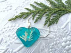 heart necklace, heart pendant, love necklace, turquoise necklace, silver heart necklace, fused glass pendant, turquoise pendant, fossil by thejeremiahtreeglass. Explore more products on http://thejeremiahtreeglass.etsy.com