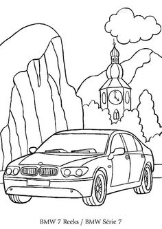 Coloriage d'une BMW Série 7 au départ de l'église et de sa belle horloge