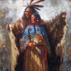 Two Souls One Spirit depicts a tasteful romantic encounter between a Lakota man and woman. By James Ayers, painter of Native American Indian cultures