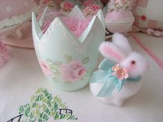 Hand Painted Roses and Easter Bunny