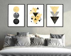 Trending Now Art, Set of 3 Prints, 3 Print Set, Triptych, Scandinavian Prints, Printable Art, Wall Art, Yellow and Black, Poster, Home Decor