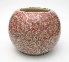 Bendigo Pottery Spongeware Spatter Glaze Pink Green Mottled Vase