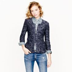 navy tweed peplum jacket with an oxford shirt