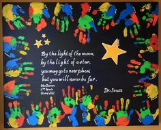 Acrylic paint on canvas -- each kid stamped their hand in a plate of paint and then in their spot on the canvas -- so vibrant & a big ticket item!