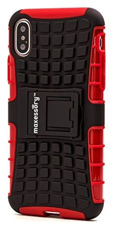 f20a8cc607 iPhone X Case, Maxessory Red Offroad Shock-Proof Rugged Dual-Layer Armor  Rigid Ultra-Slim Kickstand Protective Hard Tough Hybrid Phone Cover Shell
