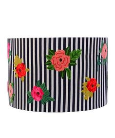 Love this Navy & Pink Floral Stripe Integrity Large Lamp Shade on