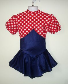 Ice Skating Girls Small Red Gingham & Blue Skirted by SeamsByTeri, $85.00