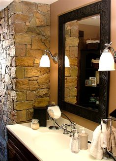 This is one of our interior projects. Stone or brick work inside your home are a huge asset to interior design. This real thin stone veneer is covering an existing, unattractive brick chimney. (maybe guest bathroom wall? Home Design Decor, House Design, Home Decor, Stone Bathroom, Bathroom Wall, Bathroom Ideas, Brick Face, Thin Stone Veneer, Stone Cladding