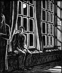 A Ghost Story 1, Gwen Raverat wood engraving