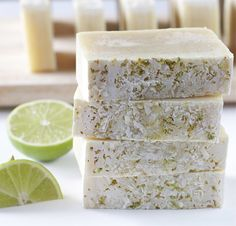 This soap is made with coconut milk and coconut-lime fragrance oil. With the added chopped coconut and lime zest exfoliant on the edge, thes...
