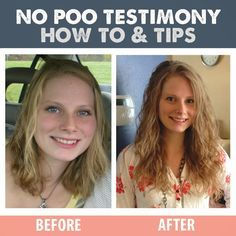 """I don't shampoo my hair"" - No Poo Testimonial, How To, and Tips. Before and after."