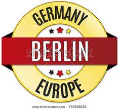 round glossy black red yellow badge