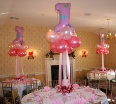 This is almost the same table set up I have for Violet's baptism with the balloon centerpiece and candles and kisses favors.  Excited to see how it turns out on a rectangle table. 1st Birthday Girls, 1st Birthday Parties, Birthday Party Decorations, Birthday Ideas, Party Favors, Birthday Table, Birthday Cupcakes, Birthday Photos, Balloon Centerpieces